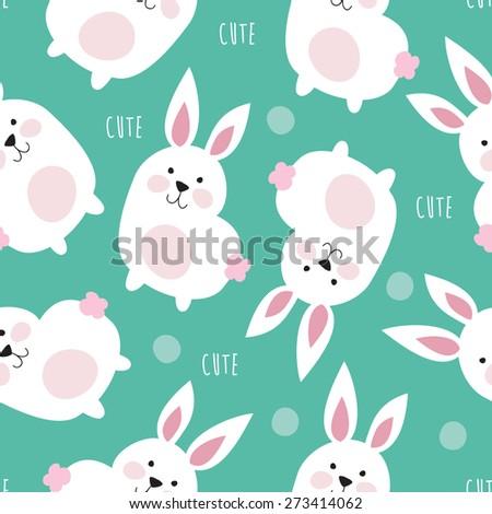 seamless cute bunny pattern vector illustration - stock vector