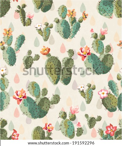 seamless cute cactus print pattern background - stock vector