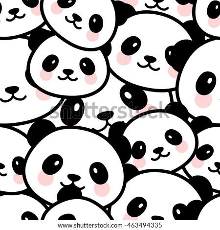 seamless cute cartoon panda face pattern stock vector royalty free rh shutterstock com Cute Cartoon Panda Wallpaper Cute Cartoon Panda Sleeping