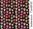 Seamless cute colourfull owl kids pattern background in vector - stock