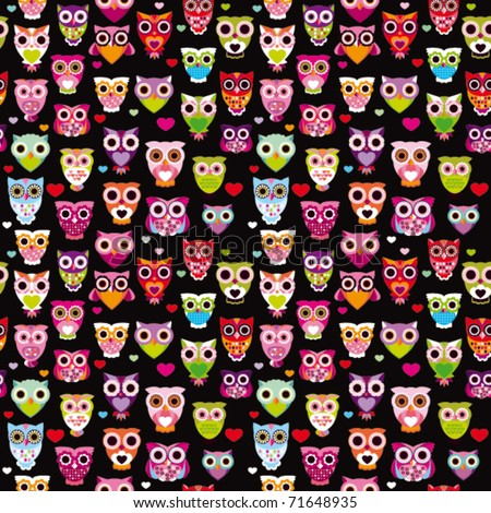 Seamless cute colourfull owl kids pattern background in vector - stock vector