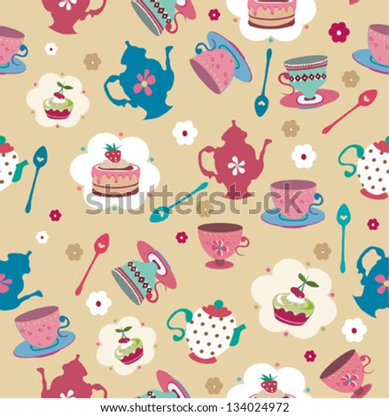 Seamless cute cup cake and tea pot background pattern in vector - stock vector
