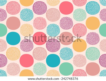seamless cute doodle dots pattern - stock vector