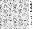 seamless cute doodle monster pattern background - stock vector