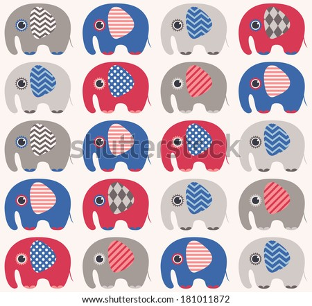 seamless cute elephant pattern - stock vector