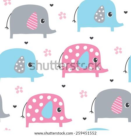 seamless cute elephant pattern vector illustration - stock vector