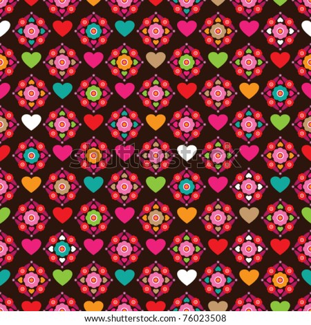 Seamless cute flower pattern background with heart shaped illustration in vector