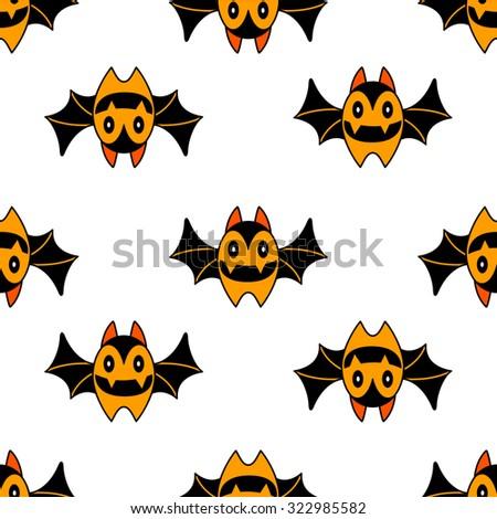 Seamless cute Halloween bat pattern - stock vector