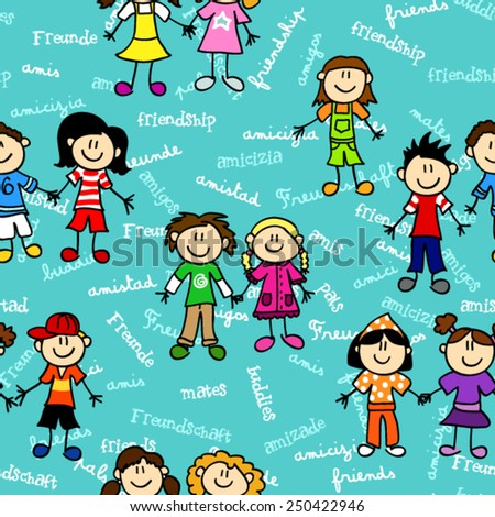 Seamless cute kid cartoon characters pattern with friendship related text in various languages - stock vector