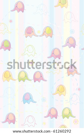 Seamless cute  pattern of  baby elephants.