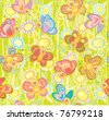 Seamless cute pattern  of butterflies - stock vector