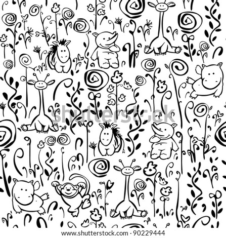 Seamless cute pattern of flora and fauna - stock vector