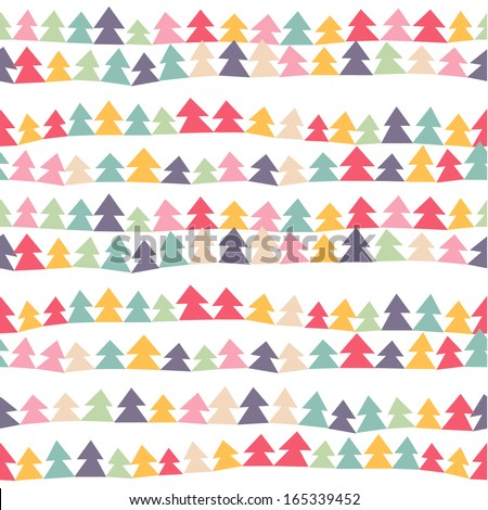 Seamless cute pattern with color christmas trees. Vector illustration - stock vector