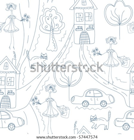 Seamless cute pattern with girl at the street with houses - stock vector