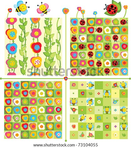 Seamless cute patterns and elements for spring design. - stock vector