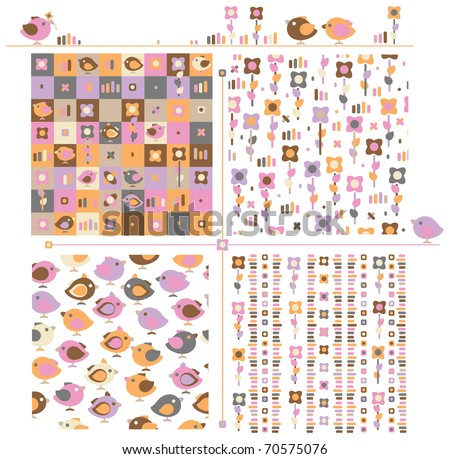 Seamless  cute patterns for spring design. - stock vector