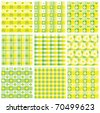 Seamless cute patterns in yellow and green colors. - stock vector