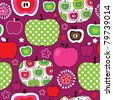 Seamless cute retro apple kids pattern in vector - stock vector