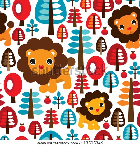 Seamless cute retro Lion kids illustration background pattern in vector - stock vector