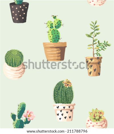 seamless cute succulents print pattern background - stock vector