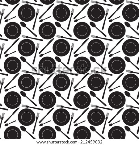 Seamless cutlery pattern - stock vector