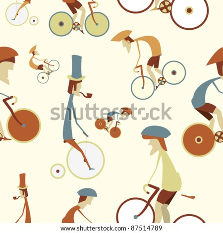 Seamless Cycling Pattern - stock vector