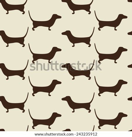 Seamless dachshund background with repeating cute brown dachshund silhouettes staying opposite one another isolated on beige background. For holiday decoration, textile, wrapping paper, wallpaper - stock vector