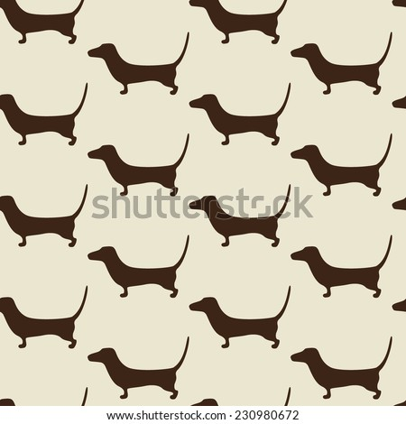 Seamless dachshund pattern with repeating cute brown dachshund silhouette on beige background. For holiday decoration, textile, wrapping paper, wallpaper, gift boxes, other packing elements - stock vector