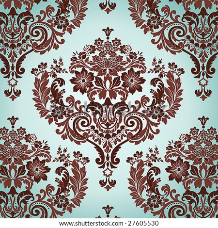 Seamless Damask floral background pattern. Vector illustration. - stock vector