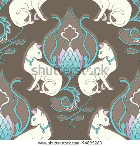 Seamless damask-like background with animal pattern. Vector pattern - stock vector