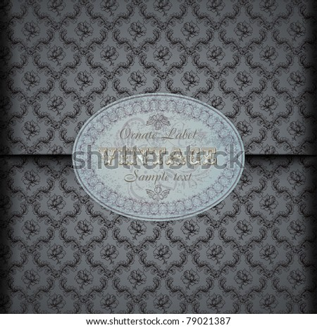 Seamless damask  pattern Background with Vintage Label - stock vector