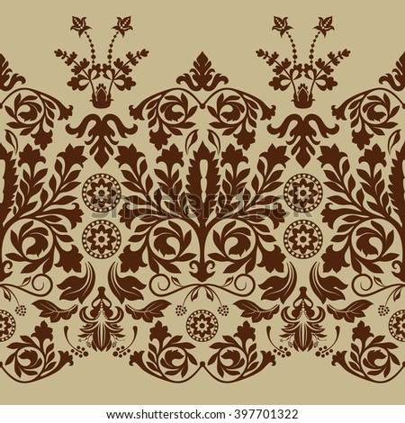 Seamless damask pattern, classic wallpaper, background - stock vector