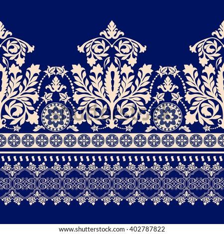 Seamless damask pattern, classic wallpaper, background. Ornamental border - stock vector