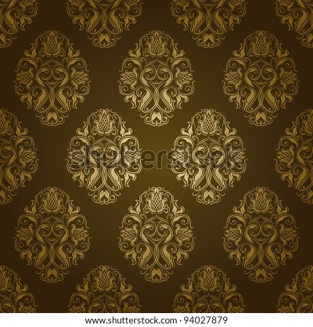 Seamless damask pattern. Flowers on a green background. EPS 10