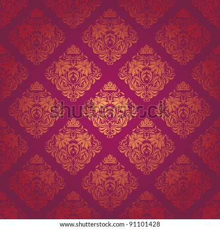 Seamless damask pattern. Flowers on a red background. EPS 10 - stock vector