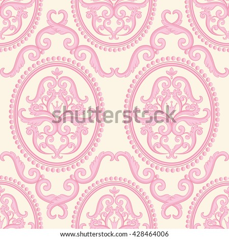 Seamless damask pattern. Pink pastel texture in vintage rich royal style. Vector illustration. Can use as background for birthday card, wedding invitation, textile print, wallpaper, wrapping paper - stock vector