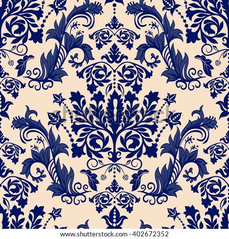 Seamless damask pattern. Two color background - stock vector