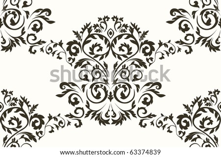 Seamless damask pattern. Vector - stock vector