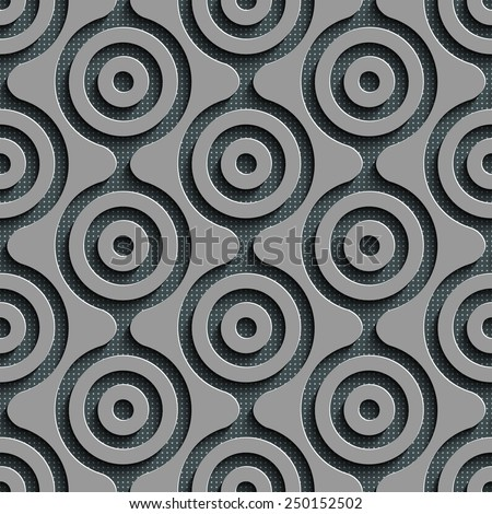 Seamless Damask Pattern. Vector Circle Background. Gray Regular Texture - stock vector