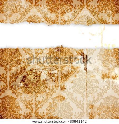 Seamless Damask wallpaper - stock vector