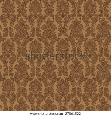 Seamless Damask Wallpaper Vector Illustration - stock vector