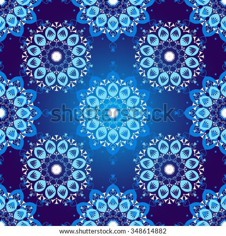 Seamless dark blue vintage christmas pattern with colorful lacy snowflakes, vector - stock vector