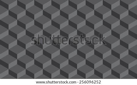 Seamless dark gray isometric flattened cubes optical illusion pattern vector - stock vector