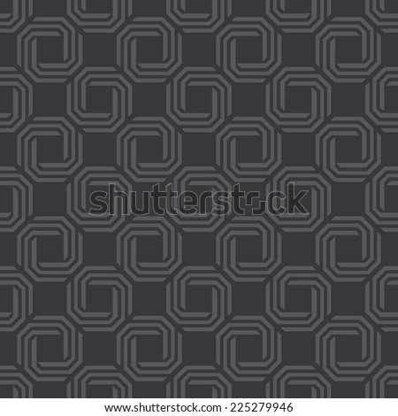 Seamless dark gray octagonal swirl pattern vector - stock vector