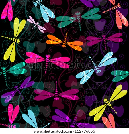 Seamless dark pattern with colorful dragonflies and translucent vintage curls (vector EPS 10) - stock vector
