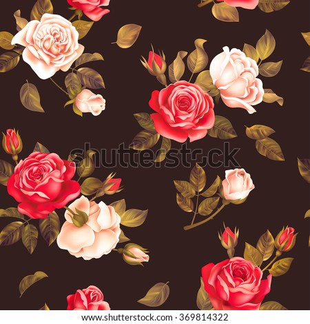 Seamless dark pattern with red and white roses. Vector illustration. - stock vector