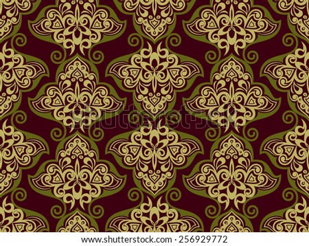 Seamless dark purple and brown floral vintage vector background. - stock vector