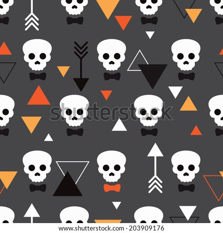 Seamless dark skull illustration halloween theme and geometric arrow details background pattern in vector - stock vector