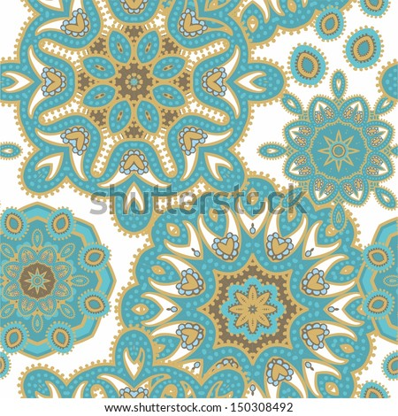 Seamless decorative paisley pattern - stock vector