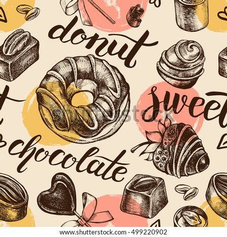 Seamless decorative pattern with hand drawn elements - assorted chocolate candies, fondue, chocolate donut and lettering. Vector illustration.
